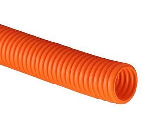 ДКС Труба ПНД гибкая гофр. д.40мм, тяжёлая с протяжкой, 20м, цвет оранжевый